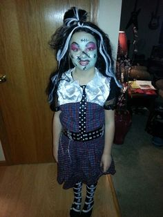 KeLan's Halloween Frankie monster high makeup done by Kelli Ciaciura
