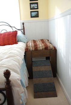 Die Idee für dieses Bett kam aus unserer eigenen persönlichen Bedürfnissen. Unsere Jack Russell war das Bett seit Jahren statt. Wir wecken würde jedes Mal, wenn er in die und aus der Decke bewegen würde. Wir waren nicht sicher, er würde zustimmen, alleine zu schlafen (Jack Russell kann stur sein), aber er hat in seinem Bett neben uns seit der ersten Nacht schlief. Wir glauben, dass er tatsächlich genießt mit seinen eigenen Raum. Ihr Hund wird begeistert sein direkt neben euch in seinem…