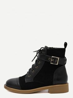 Black Distressed Cap Toe Ankle Strap Martin Boots