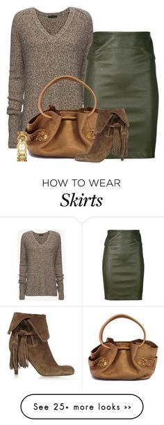 """""""Leather Pencil Skirt for Fall"""" by lbite on Polyvore featuring ATM by Anthony Thomas Melillo, Getting Back To Square One, Cole Haan, Tory Burch and Chloé"""