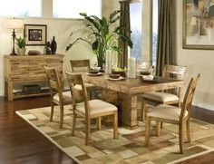 Bancroft -  Unique re-purposed solid wood pieces create this exotic collection, which includes a dining table, pub table, sideboard and chairs (regular chairs or pub-height chairs).
