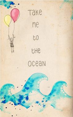 Take me to the Ocean - ink, watercolour & collage illustration print on archival paper. $23.48, via Etsy.