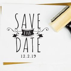 Whimsical Wedding Save The Date Monogram Stamp - rubber stamp, self-inking…