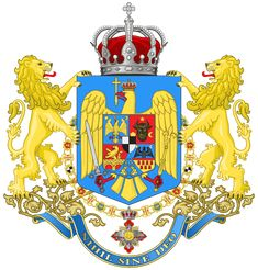 The coat of arms used by the Romanian Armed Forces (Ministry of War). After World War I, Transylvania, Bessarabia, Banat, and Bukovina united with the Kingdom of Romania. As a result, the symbols representing the new territories were added to the coat of arms.