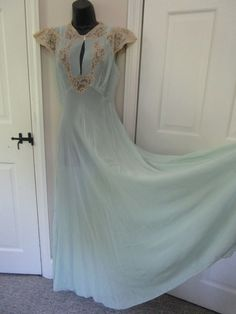 1920 Light Blue Vintage Silk and French Lace Nightgown. Detail