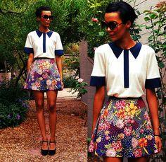 Marc By Marc Jacobs Collar Trim Cashmere Top, Diy Floral Mini Skirt, Vintage Oversize Sunnies