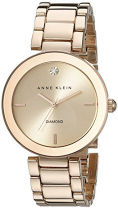 Anne Klein Women's AK/1362RGRG Rose Gold-Tone Diamond-Accented Bracelet Watch - http://dressfitme.com/anne-klein-womens-ak1362rgrg-rose-gold-tone-diamond-accented-bracelet-watch/
