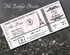 Paris Boarding Pass Invitation Diy Boarding Pass Invite Paris