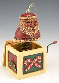 Santa in the Box - African American Ornament