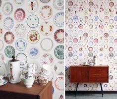 Fun tableware wallpaper by Studio Ditte...