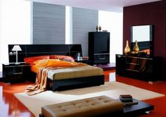 Like style of bedroom, though too dark