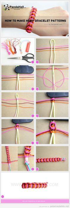 Cómo hacer una pulsera de hilo de cola de ratón e hilo de cáñamo | Pulseras de Hilo | Todo para aprender a hacer pulseras de hilo con nudos