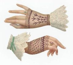 Larger Victorian Die Cuts Lady Hands Lace Black Gloves (02/09/2011)