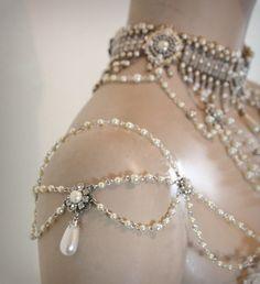 Shoulder Epaulettes Bridal Jewelry Accessories ,Pearls,Rhinestones,Efrat Davidsohn 1920 Inspiration Shoulders Necklace Wedding Jewelry,OOAK. $250.00, via Etsy.