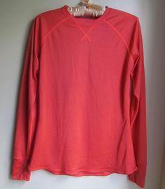 Nike Dri Fit Athletic Top Shirt M Medium Long Sleeve Crew Neck Base Layer Orange #Nike #ShirtsTops