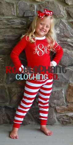Our monogrammed kids Christmas pajamas in red stripe or green stripe are great for your girls and boys. Our monogramed Christmas pajamas in red or green are great for your girls and boys. These personalized Christmas pajamas are cotton and are snu Adult Christmas Pajamas, Childrens Christmas, White Christmas, Kids Christmas Pjs, Christmas Vacation, Christmas Goodies, Christmas Pictures, Christmas Christmas, Monogrammed Pajamas