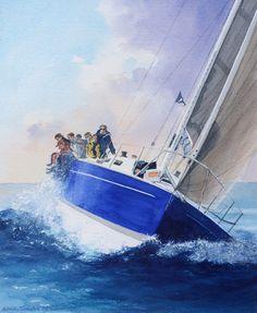 """Adrian Taunton """"To Windward Again"""" watercolour x Boat Art, Water Colors, Sailboats, Yachts, Nautical, Sailing, Abstract, Artist, Artwork"""