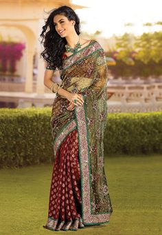 Green and Maroon Georgette #Saree @ $104.00