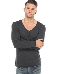 Drykorn Shirt Alves Grau  Herren Longsleeve in Feinstrick-Optik Rundhalsausschnitt gerader, lockerer Schnitt