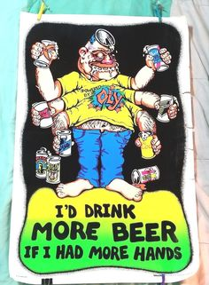 Man's Cave More Beer Orig Vintage Blacklight Poster 1970's Woman Pin-up Velvet #PopArt