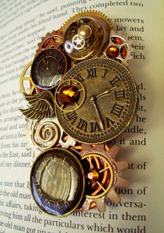 Steampunk Pin P316 Brooch Clockfaces by DesignsByFriston #Steampunk