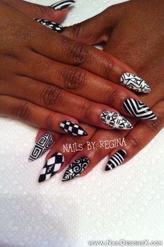 white & black stiletto nail art » Nail Designs & Nail Art