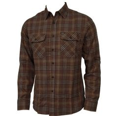 Brixton Clothing Mens Flannel Bowery Brown
