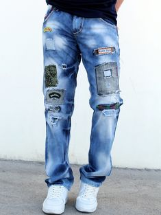 $20.82 SHARE & Get it FREE | Zipper Fly Letter Multielement Patch Design Holes Cat's Whisker Straight Leg Jeans For MenFor Fashion Lovers only:80,000+ Items • New Arrivals Daily • Affordable Casual to Chic for Every Occasion Join Sammydress: Get YOUR $50 NOW!