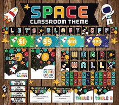 LETS BLAST OFF space classroom digital files Preschool Classroom Themes, Classroom Money, Space Theme Classroom, Space Theme Preschool, Classroom Decor Themes, Classroom Design, Science Classroom, Kindergarten Classroom, Classroom Organization