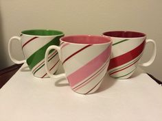 2007 Starbucks Pink, Green & Red Candy Cane Striped Coffee Mugs. Rare Find #Starbucks