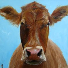 Awww!-Iris the Cow Giclee Print of an original by ArtPaperGarden