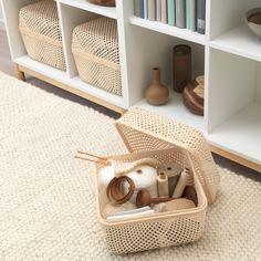 "SMARRA Box with lid, natural, 11 ¾x11 ¾x9"" - IKEA Box With Lid, Malm, Decorative Storage, Home Organization, Bedroom Decor, Kids Rugs, Interior Design, Home Decor, Organize"