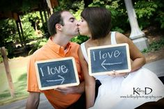 """adorable engagement photo idea except i think in his handwriting """"i love her"""" and in her handwriting """"i love him."""" precious."""