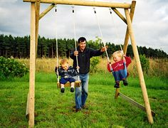 Swing Frames from Caledonia Play are robust and strong and freestanding. Swing seats tested to 70 kg. Wooden Swing Frame, Backyard Playground, Playground Ideas, Double Swing, Kids Swing, Swing Seat, Kids Playing, Swings, Garden Ideas
