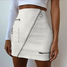 Rapcopter Women Summer Sexy Zipper Pockets Patchwork PU Skirt Fashion Slim Fit Streetwear Hip White Leather A-line Mini Skirts White Leather Skirt, Leather Mini Skirts, Pu Leather, Leather Fashion, A Line Skirts, Short Skirts, Cheap Skirts, Short Sexy, Sexy Rock