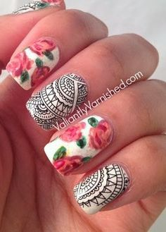 Gorgeous lace decal and floral nail art