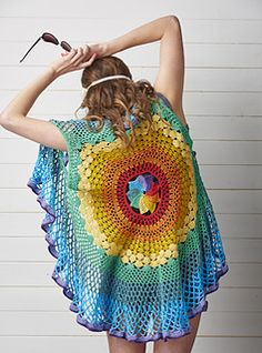 The soothing process of working the colourful stitches of a mandala is amplified with this creative project. Vibrant lacy rounds radiate from a central colour wheel, resulting in a breathtaking sleeveless garment that hangs beautifully and is a joy to make.
