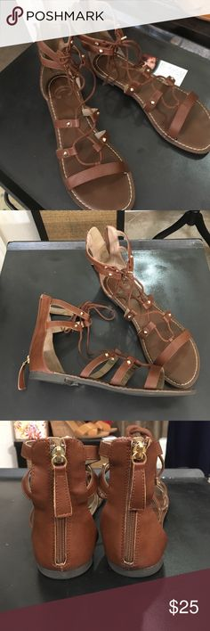Worn Once Lace Up Gladiator Sandal Brown 8 Like New Charming Charlie Lace up Gladiators. Size 8 in luscious Brown.   😍💕. Charming Charlie Shoes Sandals