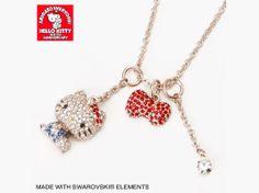 Hello Kitty 40th Anniversary Detachable Paves Necklace SWAROVSKI ELEMENTS JAPAN