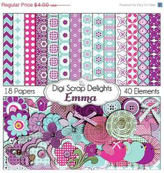 Digital Scrapbooking: Emma Digital Scrapbook Kit (Turquoise Blue, Purple)