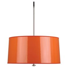 Penelope Pendant in Orange by Robert Abbey. Bulb Type: A Direct Wire Only Polished Nickel Finish Lead Crystal Finial Orange Ceramik Parchment Shade w/ Silver Mylar Lining Polished Nickel Finished Metal Diffuser Included Susp. 3 Light Pendant, Drum Pendant, Pendant Lighting, Contemporary Pendant Lights, Modern Chandelier, Modern Lighting, Lighting Design, Robert Abbey Lighting, Penelope