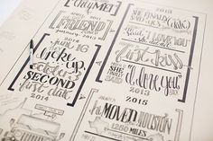 """Hand lettered guest book """"canvas"""" by Bobby Puffenburger of http://www.blujaygrafixtry.com/  Photo from Dylan & Rachel collection by Liz Cook Photo"""