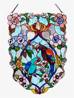 Birds and Flowers Stained Glass Panel