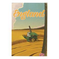 England combine harvester travel poster