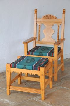 Items similar to Chair and Footstool, Southwestern Style on Etsy - Western Home Decor Living Room Southwest Home Decor, Southwestern Home, Southwestern Decorating, Southwestern Benches, Mexican Style Decor, Western Furniture, Mexican Furniture, Painted Furniture, Native American Decor