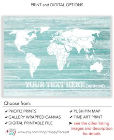 Mint green WORLD map with personalised text. Travel map gift idea. Rustic urban distressed style. Excellent gift for a special teen or long