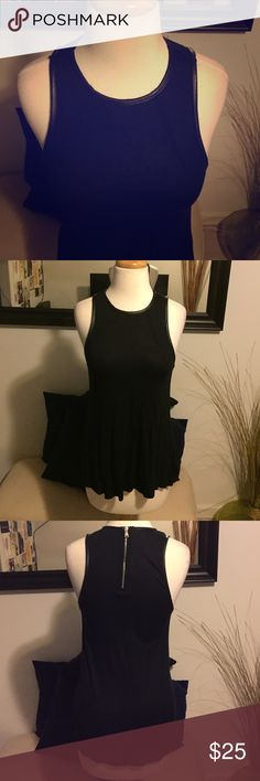 Zara Black Top w/Zippered Back Never worn. Leather-like detail around the neck and arms. Very clean and chic! Zara Tops