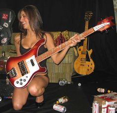 Women of Rock Guitar Girl, Female Guitarist, Female Singers, Rockabilly Guitar, Rickenbacker Bass, Women Of Rock, Rocker Girl, Women In Music, Sexy Legs And Heels