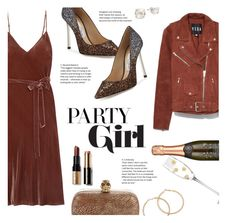 """#PolyPresents: Party Dresses"" by lisalockhart on Polyvore featuring Frame, Veda, Jimmy Choo, Alexander McQueen, Kate Spade, Bobbi Brown Cosmetics, contestentry and polyPresents"