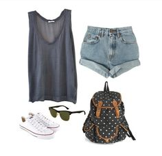 Lazy outfit for school Polka dot backpack, shorts, tank tops, white shoes